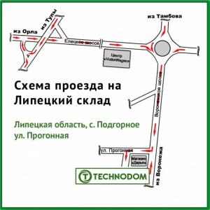Схема проезда в офис ООО Технодом в Липецке