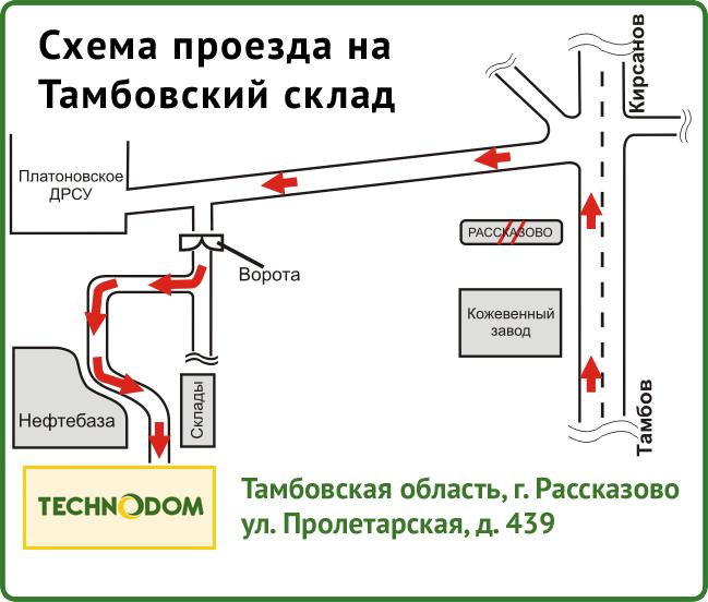 Схема проезда на Тамбовский